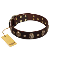 """Breaking the Horizon"" FDT Artisan Brown Leather Dogue de Bordeaux Collar with Engraved Studs and Medallions"