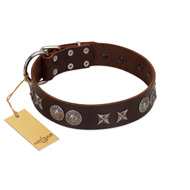 """Antique Style"" Designer Handmade FDT Artisan Brown Leather Dogue de Bordeaux Collar"