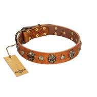 """Call of Feat"" FDT Artisan Tan Leather Dogue de Bordeaux Collar with Old Bronze-like Studs and Oval Brooches"
