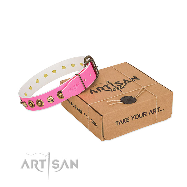 Full grain genuine leather collar with fashionable studs for your doggie