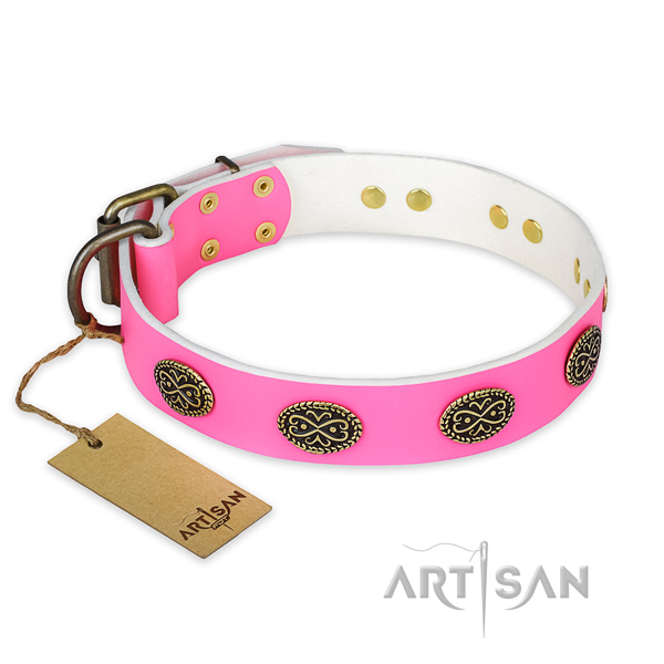 Amazing full grain natural leather dog collar for daily use