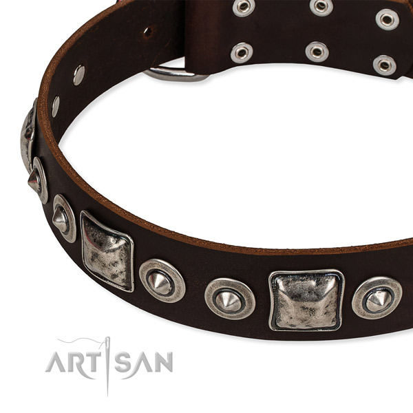 Genuine leather dog collar made of quality material with decorations