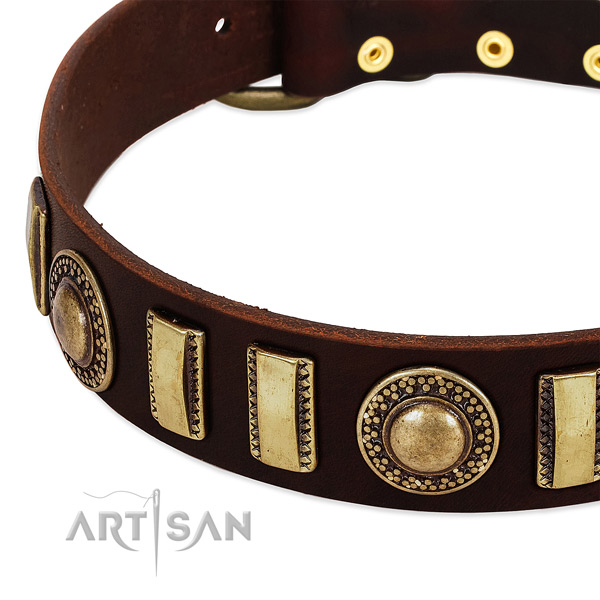 Top notch genuine leather dog collar with durable hardware