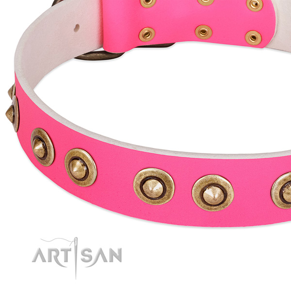 Durable D-ring on genuine leather dog collar for your dog