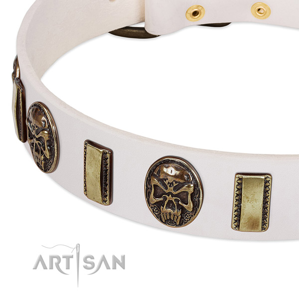 Durable studs on natural genuine leather dog collar for your doggie