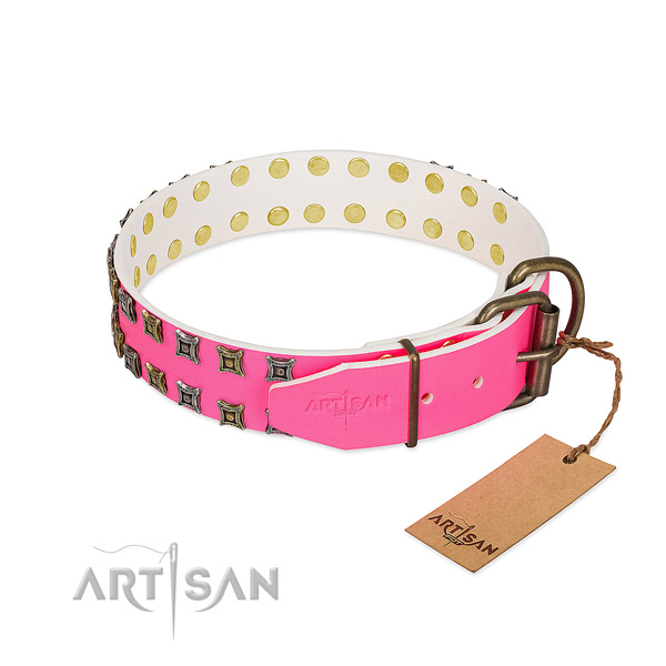 Full grain leather collar with awesome decorations for your dog