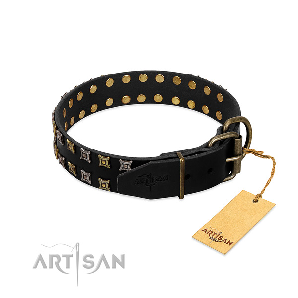 Strong full grain leather dog collar handcrafted for your pet