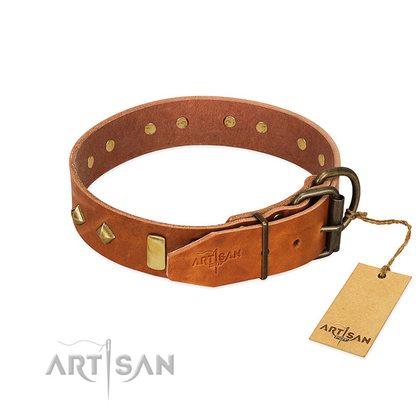 Comfortable wearing full grain genuine leather dog collar with designer decorations