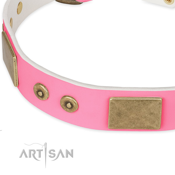 Full grain leather dog collar with decorations for handy use