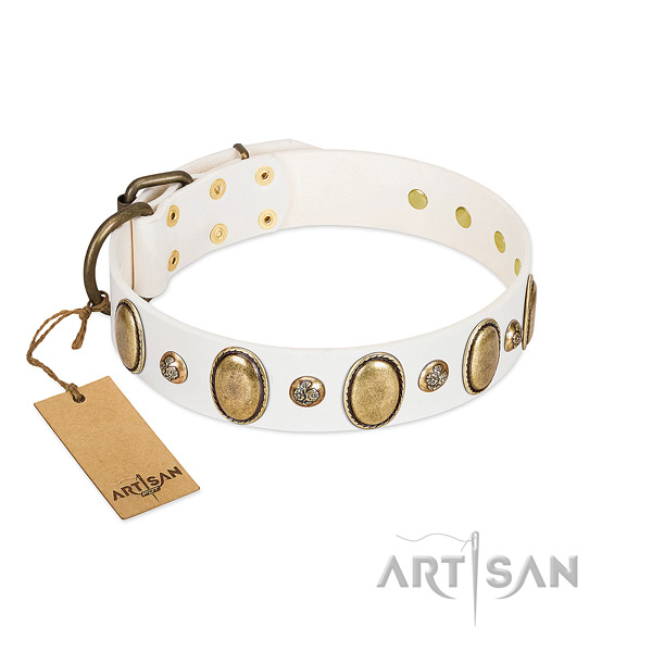 Full grain natural leather dog collar of soft material with remarkable decorations