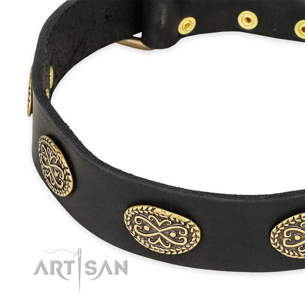 Extraordinary natural genuine leather collar for your beautiful four-legged friend