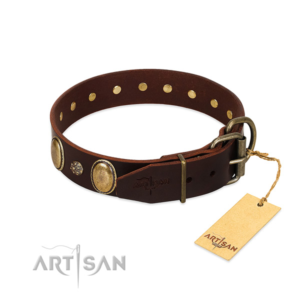 Comfortable wearing high quality natural genuine leather dog collar