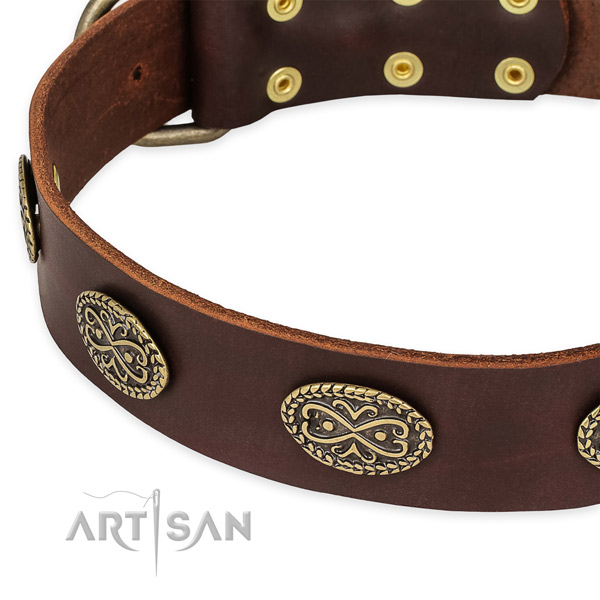 Adjustable full grain natural leather collar for your stylish four-legged friend