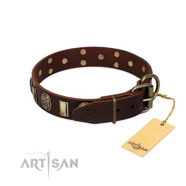 Genuine leather dog collar with corrosion proof D-ring and embellishments