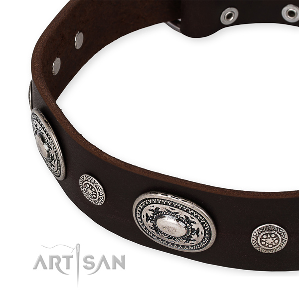 Soft to touch full grain genuine leather dog collar handcrafted for your attractive canine