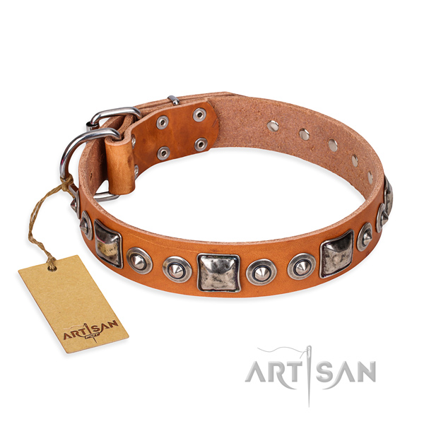 Full grain natural leather dog collar made of reliable material with rust-proof hardware