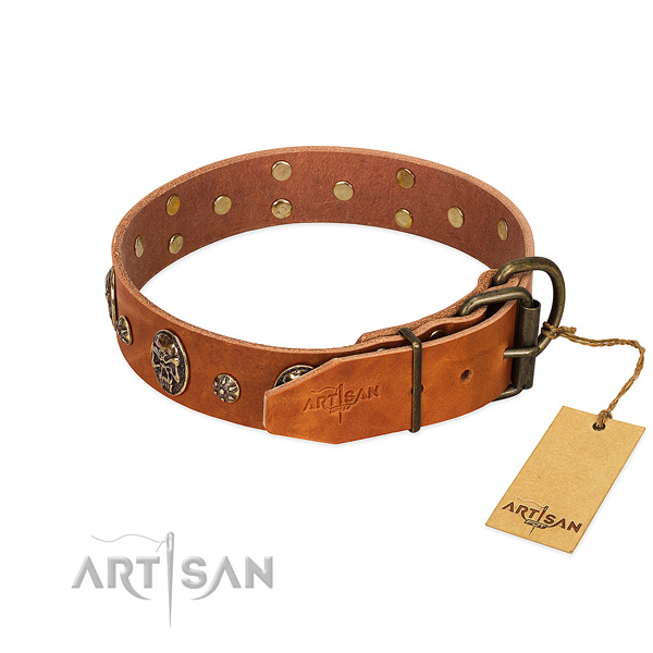 Durable fittings on full grain leather dog collar for your pet