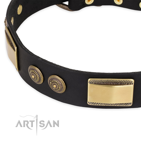 Comfortable genuine leather collar for your attractive dog