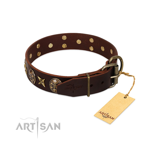Full grain leather dog collar with strong traditional buckle and embellishments