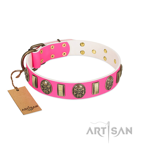 Rust-proof decorations on natural genuine leather dog collar for your doggie