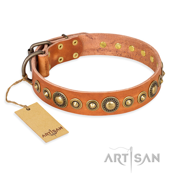 Gentle to touch full grain natural leather collar created for your four-legged friend