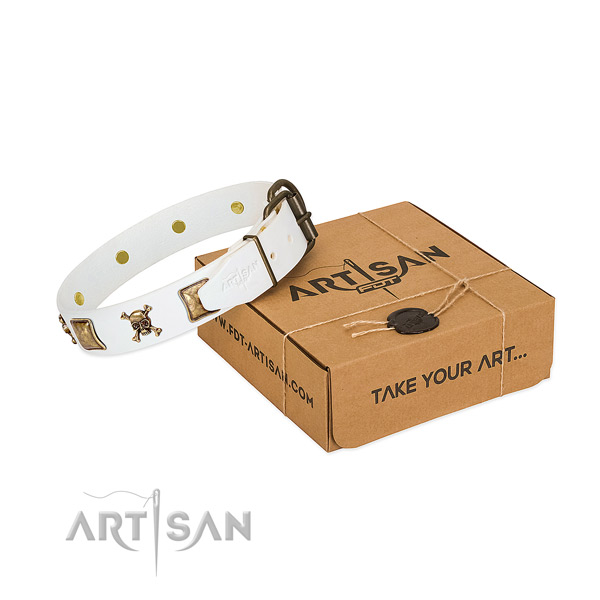 Stylish full grain natural leather dog collar with durable decorations