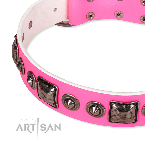 Strong leather dog collar handmade for your attractive dog