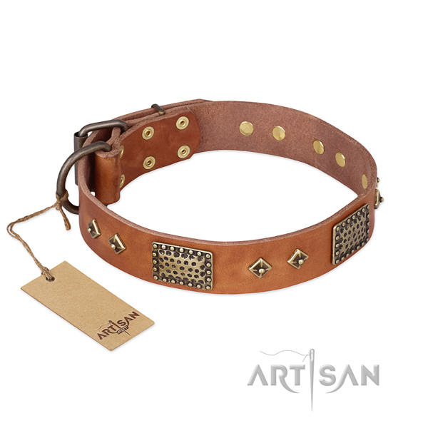 Embellished genuine leather dog collar for easy wearing