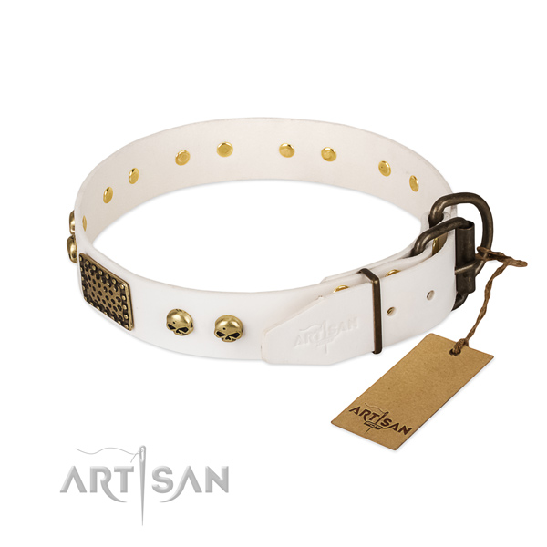 Easy adjustable natural leather dog collar for daily walking your dog