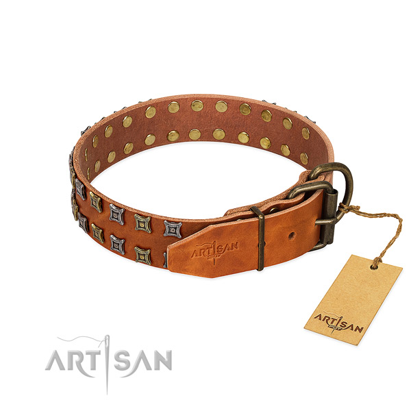 Quality full grain leather dog collar crafted for your four-legged friend