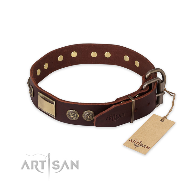 Rust resistant fittings on full grain natural leather collar for basic training your pet