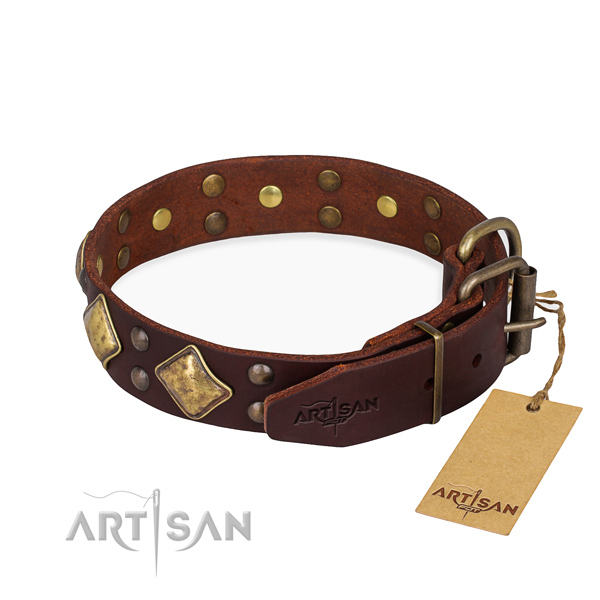 Natural leather dog collar with unique rust-proof decorations