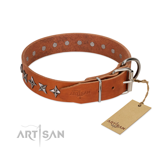Easy wearing decorated dog collar of durable genuine leather