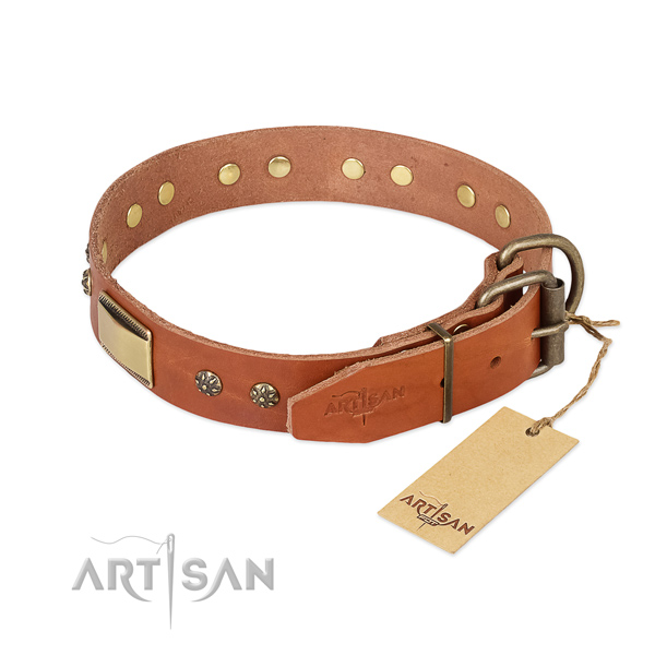 Genuine leather dog collar with corrosion resistant traditional buckle and adornments