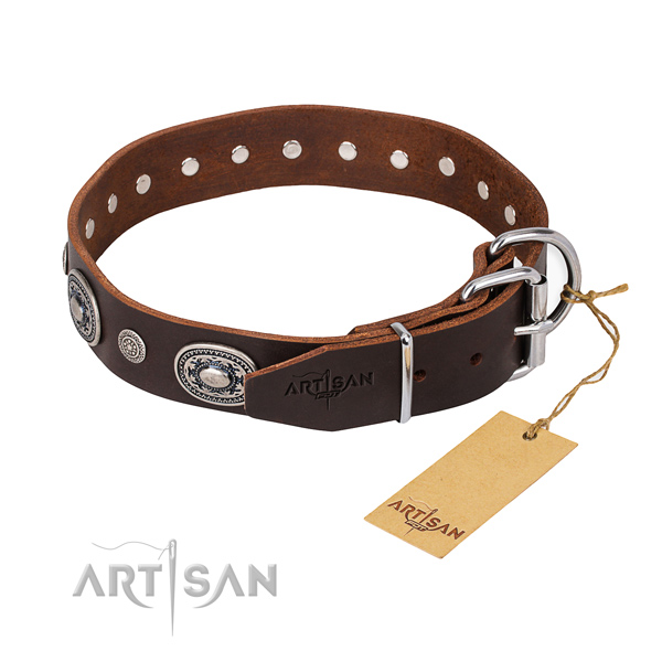 Durable full grain leather dog collar handmade for daily walking