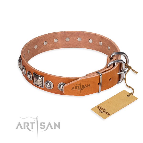 Natural genuine leather dog collar made of top notch material with reliable adornments