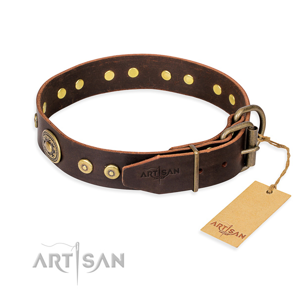 Full grain natural leather dog collar made of high quality material with strong decorations