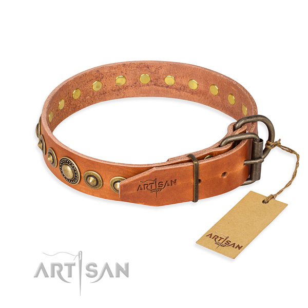 Reliable full grain genuine leather dog collar crafted for fancy walking