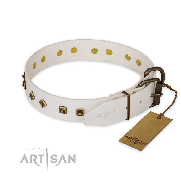Rust-proof traditional buckle on genuine leather collar for walking your doggie