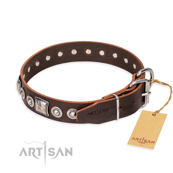 Full grain leather dog collar made of best quality material with corrosion resistant decorations