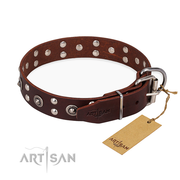 Corrosion proof hardware on full grain genuine leather collar for your stylish dog