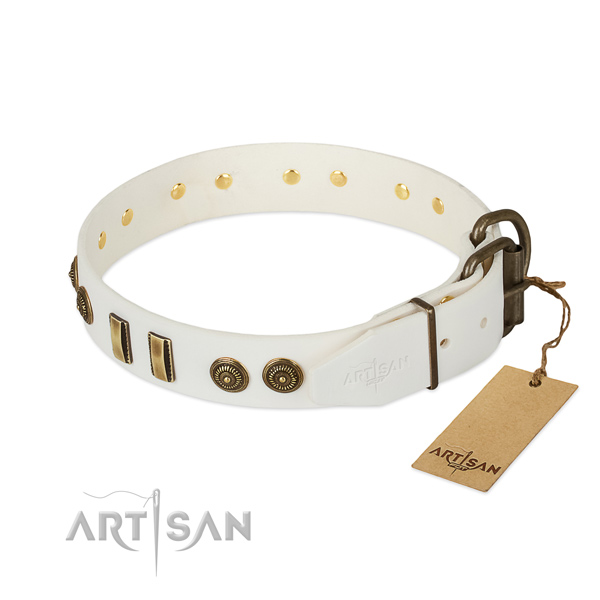 Strong hardware on full grain leather dog collar for your canine