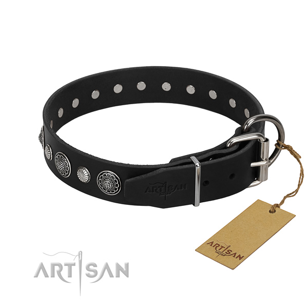 Top quality full grain genuine leather dog collar with designer studs