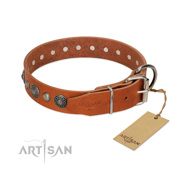 Soft to touch leather dog collar with corrosion proof traditional buckle