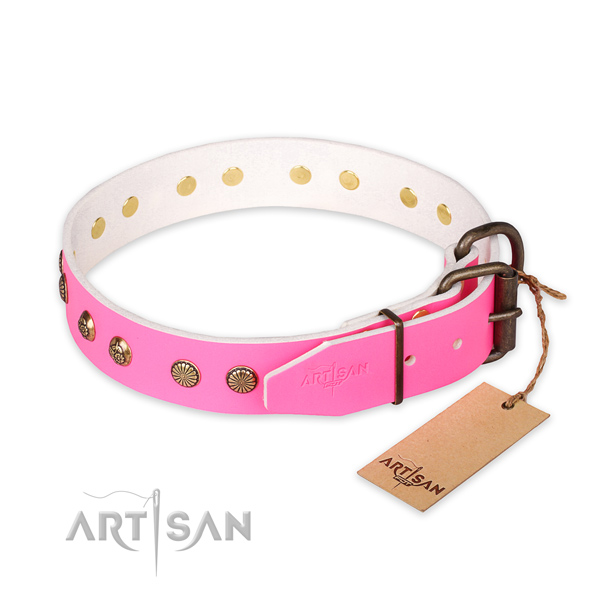 Corrosion proof traditional buckle on full grain leather collar for your handsome doggie