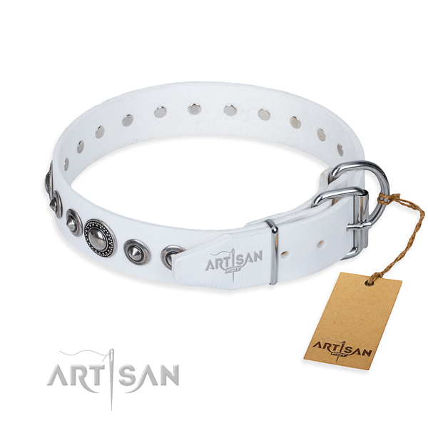 Full grain natural leather dog collar made of soft to touch material with strong embellishments