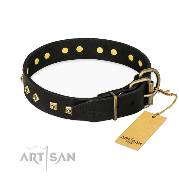 Reliable traditional buckle on genuine leather collar for basic training your pet