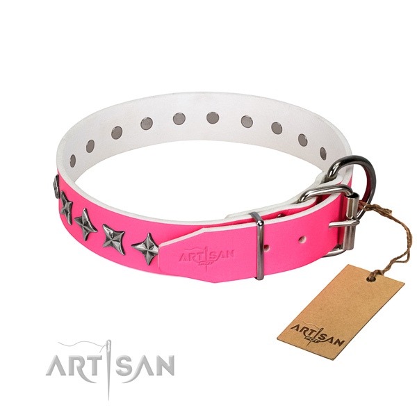 Reliable full grain natural leather dog collar with stylish decorations