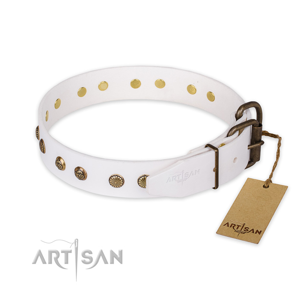 Rust-proof D-ring on full grain natural leather collar for your handsome pet