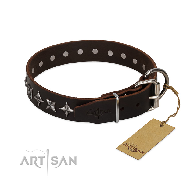 Comfy wearing decorated dog collar of best quality full grain leather